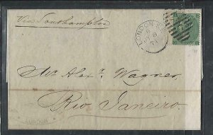 BRAZIL  COVER  (PP2909BB) 1871 GB QV 1/- PL 5 INCOMING TO RIO, ARRIVAL B/S