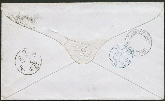 GB 1858 1d red stars on cover CANONBURY / ALMA TERR undated circle.........47017