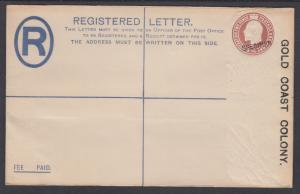 Gold Coast H&G C7 mint 1920 2p KEVII Registered SPECIMEN Envelope