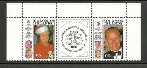 Solomon Island MNH 689A Elizabeth & Phillip Birthdays With Labels SCV 9.00