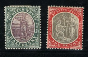 St. Kitts and Nevis #1-2  Mint VF 1903 PD