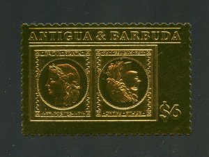 ANTIGUA GOLD FOIL STAMP ON STAMP FRANCE TETE-BECHE MINT NH OFFICIAL ISSUE#1