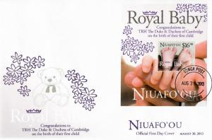 Niuafo'ou 2013 FDC Royal Baby 1v S/S Cover Birth Prince George William Kate