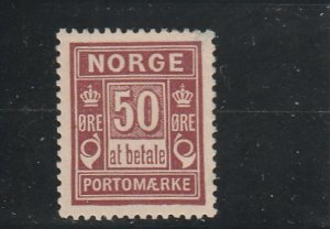 Norway  Scott#  J6  MH  (1889  Postage Due)