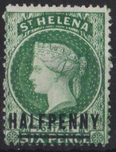 s0019) St. Helena. 1884/94. Unused SG 35 1/2d on 6d Green. Royalty c£13
