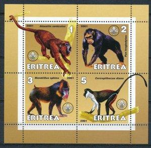 Eritrea - MNH Souvenir Sheets Monkeys Animals (2001)