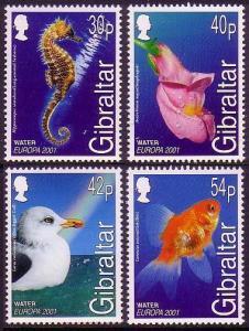 Gibraltar Gull Bird Seahorse Goldfish Fishes Snapdragon Flower 4v 2001 MNH