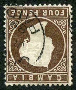 GAMBIA SG31w 1886-93 Wmk CA 4d deep brown Variety wmk Crown to RIGHT