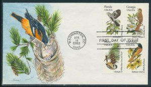 #1961-1962 // 1971-1972 BIRDS & FLOWERS ON FDC CACHETS HANDPAINTED BY HAM BV1355