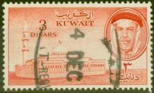 Kuwait 1961 3d Red SG163 Fine Used