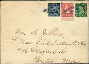 GUAM #1,2,5 ON COVER W/ APS CERT 1ST MILITARY ADMIN. CANCEL USED IN GUAM HV4394
