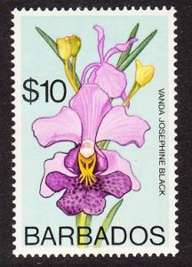 Barbados Orchid Vanda Josephine Black 1v $10 Watermark Ww14 sideways High Cat