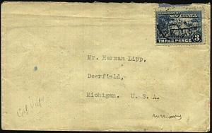 NEW GUINEA 1920s 3d Huts on Lutheran mission cover ex Madang to USA........19421
