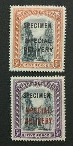 MOMEN: BAHAMAS SG #S2s-S3s SPECIMEN 1917-18 MINT OG H LOT #191525-250