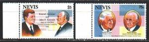 Nevis. 1993. 716-17. Adenauer, Kennedy, De Gaulle, politicians. MNH.