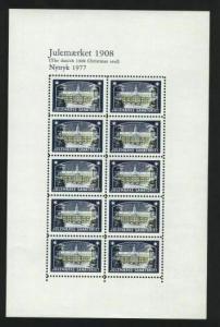 Denmark.  Christmas Seal Souvenir Sheet 1908/77 Reprint. Mnh.