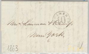 PERU/ PAQUEBOT  -  POSTAL HISTORY: COVER to NEW YORK - STEAMSHIP 10 1863