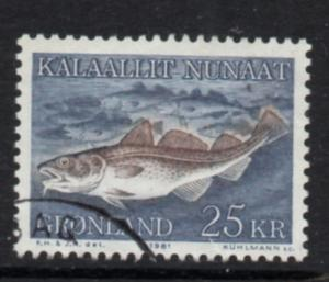 Greenland Sc 140 1981 25 kr Fish stamp used