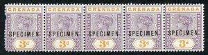 GRENADA SG52s 1895-99 3d opt SPECIMEN Strip of five inc Variety Broken M