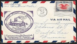 UNITED STATES First Flight Cover Air Mail Week 1938 Beatrice