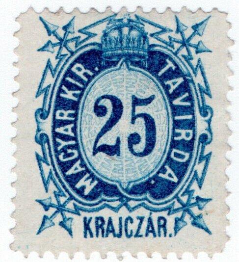 (I.B) Hungary Telegraphs : Magyar Kir Tavirda 25kr
