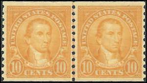 # 603 Mint Never Hinged Line Pair Orange Monroe
