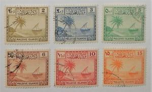 Maldive Islands 20-25. 1950 2l-15l Seascape, CTO