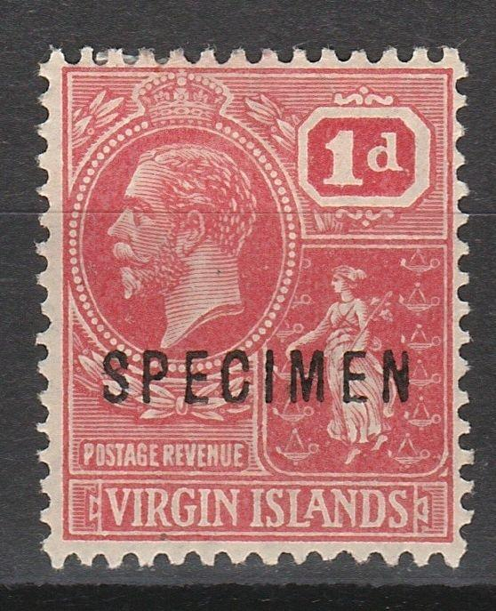 VIRGIN ISLANDS 1922 KGV BADGE 1D SPECIMEN