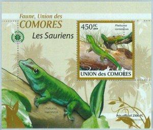 A0409 - COMORES, ERROR, MISPERF, Souvenir sheet: 2009, Lizards, Reptiles