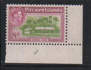 Pitcairn Islands Sc 6A 1951 8d Schoolhouse & G VI stamp mint plate number