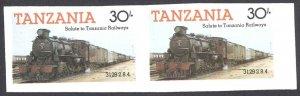 Tanzania Sc# 274 MNH horiz pair IMPERF (ERROR) 1985 30sh Locomotives
