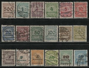 Germany Reich Scott # 280 - 299, used, cpl set, all exp h/s