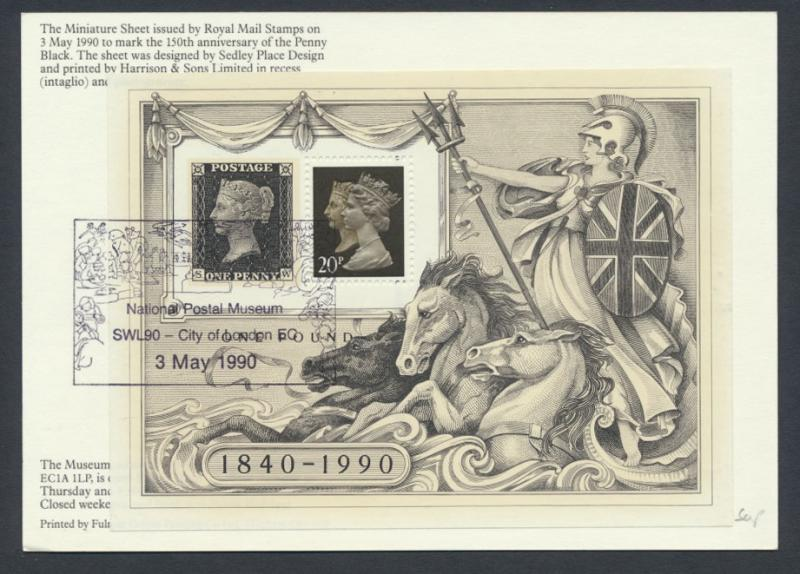 GB London Stamp Exhibition '90 MS on Exhibition Card SG MS1501 SC# MH193f SPE...