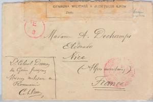 ROMANIA - POSTAL HISTORY WWI: Cover to FRANCE through Petrograd RUSSIA !?!  1917