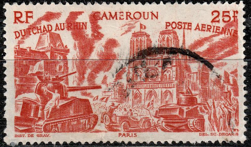 CAMEROUN - 1946 Yv.PA.36 / Mi.294 25fr orange-red from Chad to the Rhine - used
