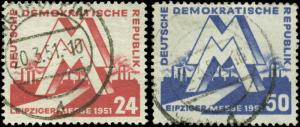 German Democratic Republic Scott #78-#79 Complete Set Used  Catalogs $20