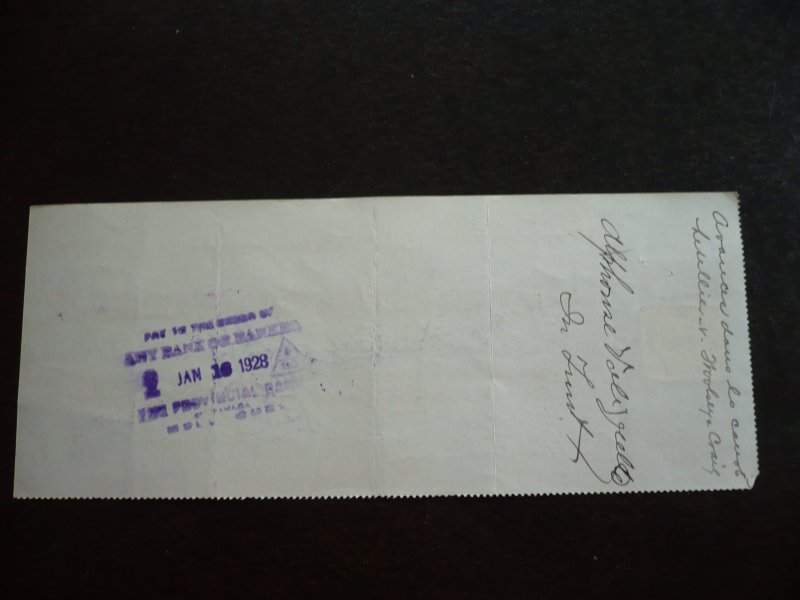 Canada - Revenue 2 c Excise Stamp on cheque