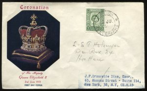 Another Ceylon QEII 1953 Coronation cacheted First Day Cover with CDS