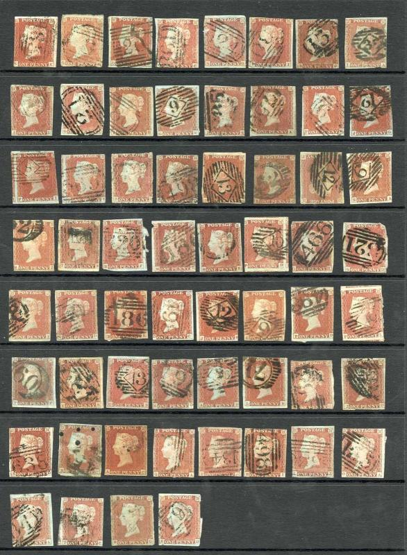 1841 Penny Reds page of 62 in Mix Condition