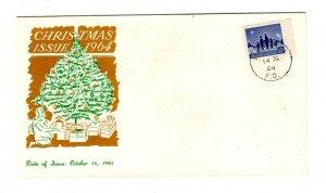 Canada 1964 Christmas #435 FDC Personal B cachet unaddressed CDS