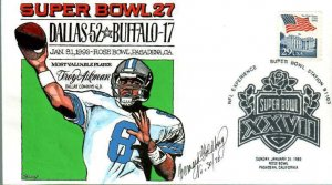 BERNARD GOLDBERG HAND PAINTED Super Bowl 27 Dallas 52 Buffalo 17 Troy Aikman