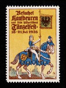 REKLAMEMARKE GERMANY BESUCHET KAUFBEUREN UND SEIN HISTORISCHES TÄNZELFEST 1926