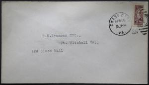 Cover - True 3 Cent Bisect to 1 1/2 Ct 3rd Class Mail rate - Chase Va S16