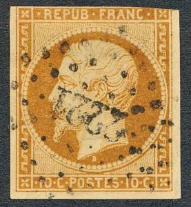FRANCE 10 USED, 10c BISTRE LOUIS NAPOLEAN,CLEAN 3 1/2 MARGIN