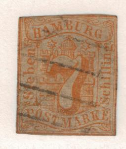 Hamburg (German State) Stamp Scott #6, Used - Free U.S. Shipping, Free Worldw...
