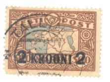 Estonia Sc 106 1930 2 k ovpt om 300m Map stamp used