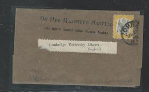 BRITISH CENTRAL AFRICA (P2903B) 2D ARMS ON WRAPPER TO CAMBRIDGE UNIVERSITY