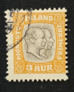 Iceland O34, 1907 Christan and Frederick, Cat. value - $11.00