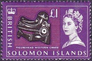 BRITISH SOLOMON IS 1965 QEII 1 PoundBlack, Deep Reddish Violet & Pink SG1...