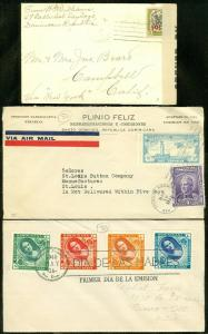 EDW1949SELL : DOMINICAN REP 3 interesting covers including 1918 Censored cover.